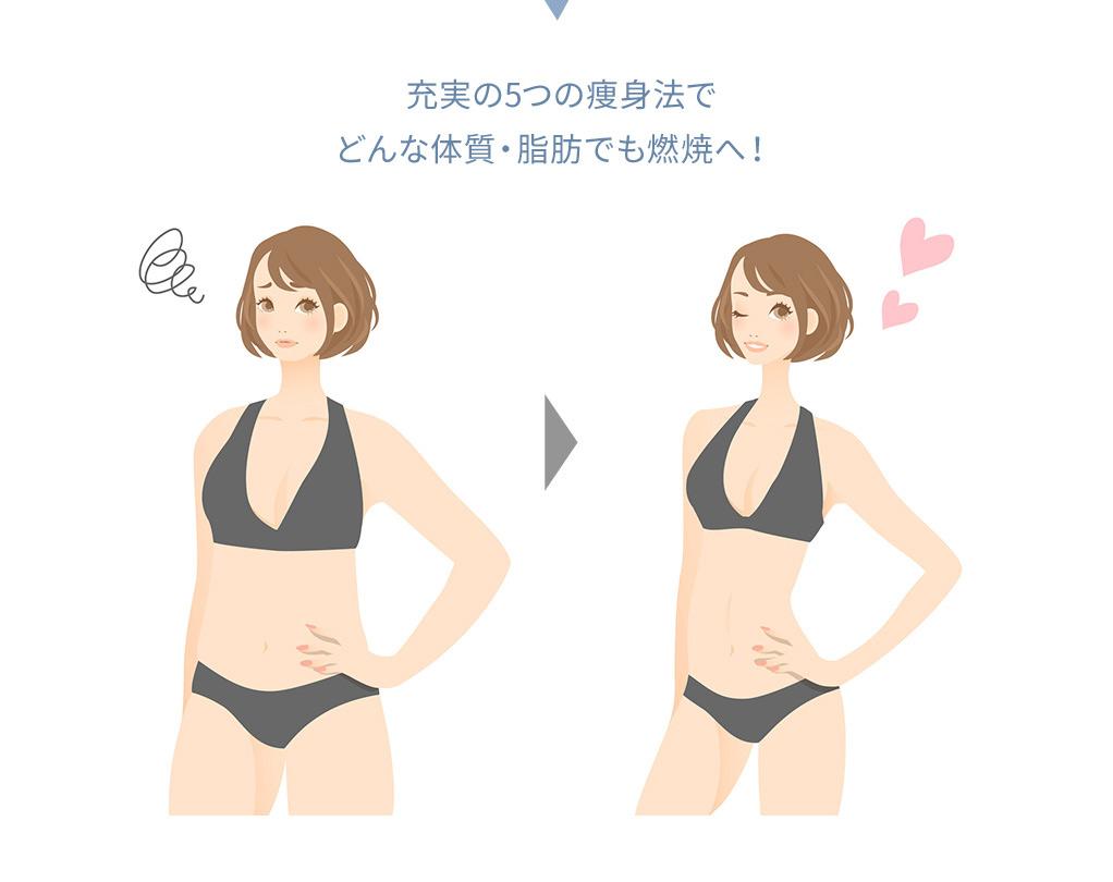 確実な結果に導く充実の5つの痩身法でどんな体質・脂肪でも燃焼へ!